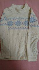 即決☆130�a白のノルディック柄フワフワセーター