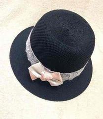 ブラック 黒 ポーラー ハット 帽子 ベージュリボン