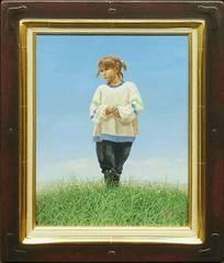 絵画 油彩 佐々木信平『丘の少女』二紀会理事 日動画廊作家 真作