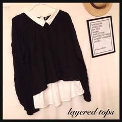 新品*ニットシャツレイヤードトップス 3L ブラックケーブル編み