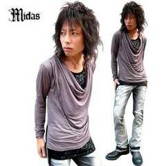 Midas(ミダス)FレイヤードドレープレオンロンT/灰Mお兄系