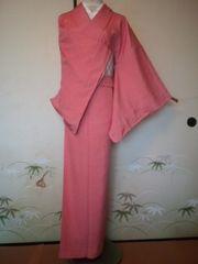 ピンク*繊細江戸小紋正絹袷未使用156裄長