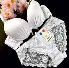 男性様歓迎☆C65M 総レース白ブラジャー&パンティ 女装