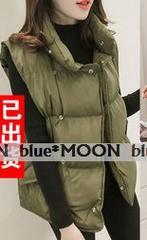 【2L】大きいサイズ!*襟付き カジュアルベストジャケット/緑