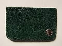新品LPルシアン レザーカードケース名刺入れエイ革シルバー緑色
