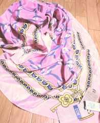 定価付き新品シーシーエム/CCMアンティーク鎖絵柄シルクスカーフ