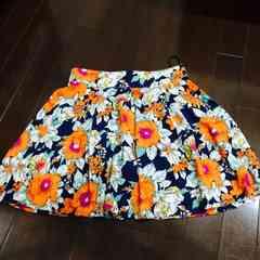 ネイビーxオレンジ花柄スカート