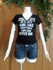 【即決】ロゴ入り半袖Tシャツ☆ブラック♪サイドギャザー★Mサイズ