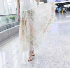 【L〜3L】大きいサイズ*2way*花柄マキシ丈ロングスカート*ワンピース 白 即決
