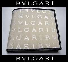 BVLGARI 30583ロゴマニア レッタレ 二つ折り財布 ベージュ 48600円 新品