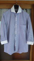 ジョンピアーズのめっちゃお洒落な七分袖ストライプシャツ 送料無料