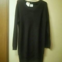 新品タグ付★後ろ長めロング丈薄手セーター/濃茶L