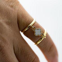 ピンキーリング 小クロス型チャーム(ホワイト)サンド ダブル 指輪