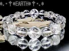 天然石★12ミリSライン螺旋彫水晶・10ミリ高級天然水晶
