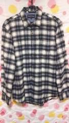 美品 メンズチェックシャツ(M)白×黒×青