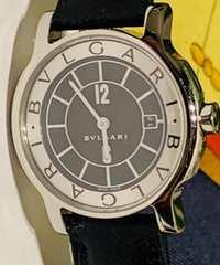 良品ブルガリソロテンポレディース時計ST29Sブラックレザー箱付