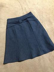 未使用リランドチュールネイビーブルーリボンモチーフスカート