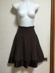 JAYRO white 裾配色バイカラープリーツスカート1ブラウン茶色