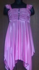 フリーサイズ新品!光沢ピンク色!ネグリジェ!ツルツル素材!