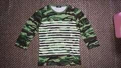 【top rebel】迷彩ボーダー七分袖Tシャツ