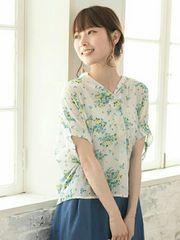 ☆green Parkes/K花×ストライプptスキッパーブラウス☆