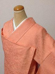 花簪ソフトオレンジの色無地未使用仕付けつき美品一つ紋/大きめ