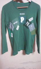 ピンクハウス 長袖  Tシャツ 緑 ワッペンが 沢山