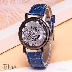 腕時計 ギリシャ文字 アナログ メンズ クォーツ 時計 レザー 青