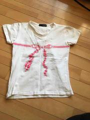 美品★リボンプリントの半袖Tシャツ★Mサイズ★