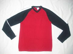 67 男 ノーティカ 赤 Vネックセーター M