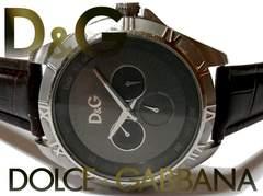 良品 1スタ★ドルガバ/D&G【スモセコ】新品ベルト 大型腕時計