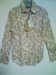 Aー412☆新品☆<Sale>メンズ長袖和柄(小紋柄)シャツ ブラウンM