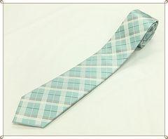 ★ジャガード織り★シルクネクタイ (ミントグリーン系チェック)