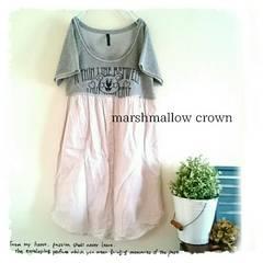 ((Marshmallow crown/ESTACOT))スウェット×ピンストシャツ異素材切替ワンピース