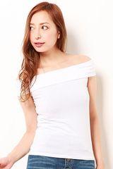 新品タグ付EMODAエモダオフショルダートップス半袖Tシャツ白ホワイト