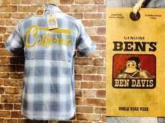 定価¥9720/新品!ベンデイビス チェンステ 刺繍 チェック 半袖 シャツ サーフ ロック