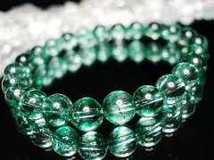 天然石3Aグリーンクラック水晶約8ミリ数珠ブレス