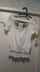 薔薇花柄刺繍M-L フリーエスニックアジアンホワイト白ブラウス