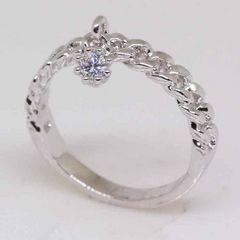 指輪18KRGPプラチナ高級CZ一粒揺れリングyu1043e