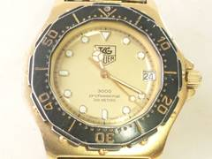 3441/TAGHEUERタグホイヤー定価15万円位プロフェッショナルダイバー3000ゴールド
