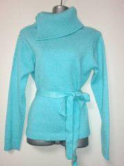 海外購入綺麗なパステルカラー肉厚デザイン襟ニットセーター