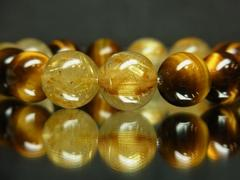 金運パワーストーン!!タイガーアイ×ゴールドルチル数珠ブレスレット 12ミリ玉