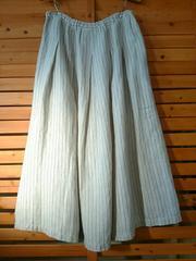 ●studio CLIP●麻100% タックイリ ストライプスカート