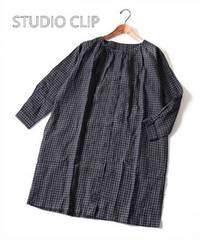 STUDIO CLIP*スタジオクリップ*リネンのチェックワンピース♪秋物