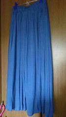 スカート*ロング/マキシ/フレア*青/ブルー*M