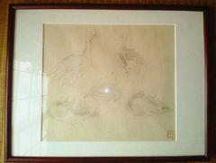 素描 榊原紫峰(さかきばらしほう)『鴨(仮題)』印あり 真作