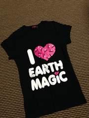 アースマジック・デカロゴ半袖Tシャツ・黒150