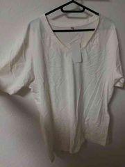 New 大きいサイズ Vネック白Tシャツ