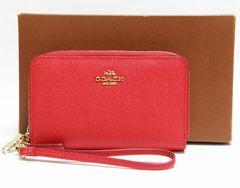 正規品美品 CAOCH コーチ Wファスナー財布 レザー 赤 63112