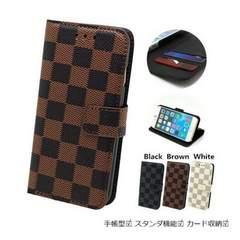 ★送料無料 iphone X 手帳型 格子ケース